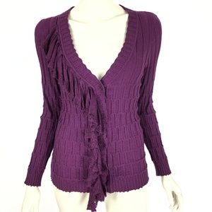 Anthropologie Yellow Bird Purple Cardigan Sweater